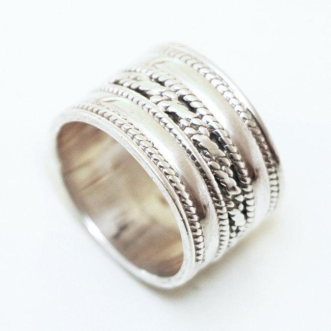 8907aff8345 Bijoux ethniques Indiens bague anneau large en argent massif 925 ...