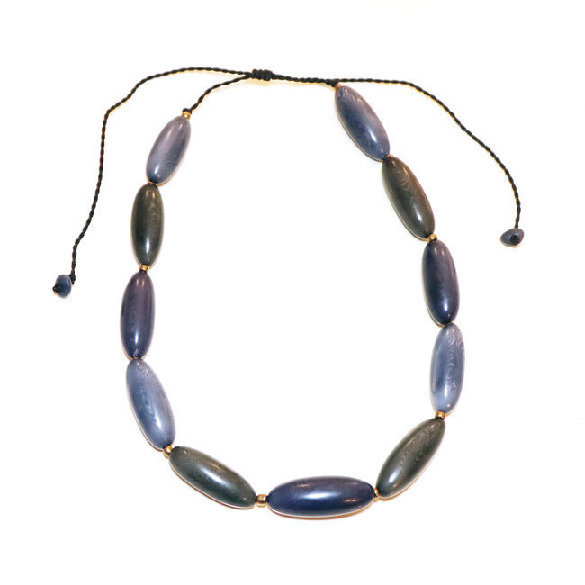 Collier yumbo bleu - Tagua and Co 005