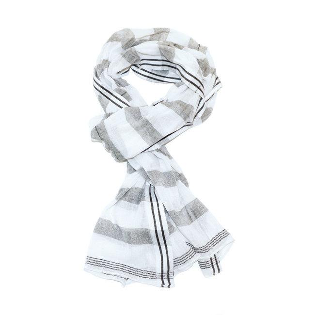 1d0d9fccd11 Echarpe chèche foulard en coton rayures Hanna gris blanc - Dana Esteline 004