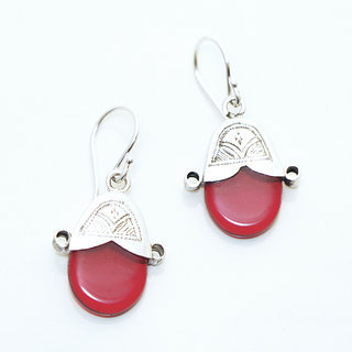 -55% Boucles d oreilles touareg Croix d Ingall en argent 925 et verre rouge  - 9fc7deb926b
