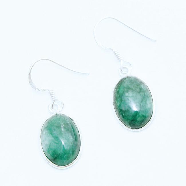 site web pour réduction vente chaude réel large choix de designs Boucles d'oreilles ovales argent 925 et corindon Emeraude - Inde 003