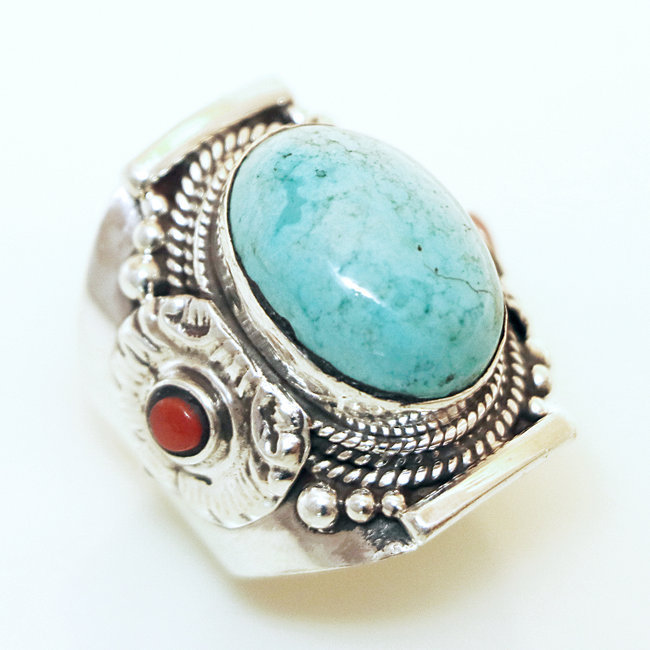 acheter pas cher 5feea a70c8 Bague chevalière en argent 925 Turquoise naturelle et Corail - Népal 008