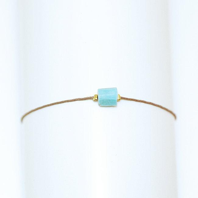 Bracelet cordon,lien plaqué or perle Turquoise naturelle , By Johanne 005