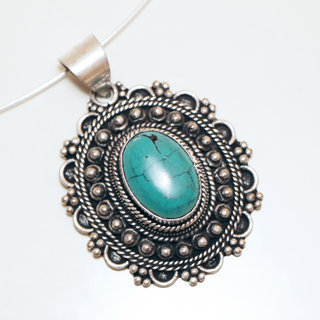 Pendentif grand ovale filigranes Turquoise - Népal 004