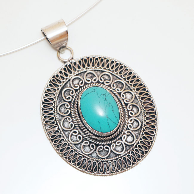 Pendentif grand ovale filigranes Turquoise - Népal 005