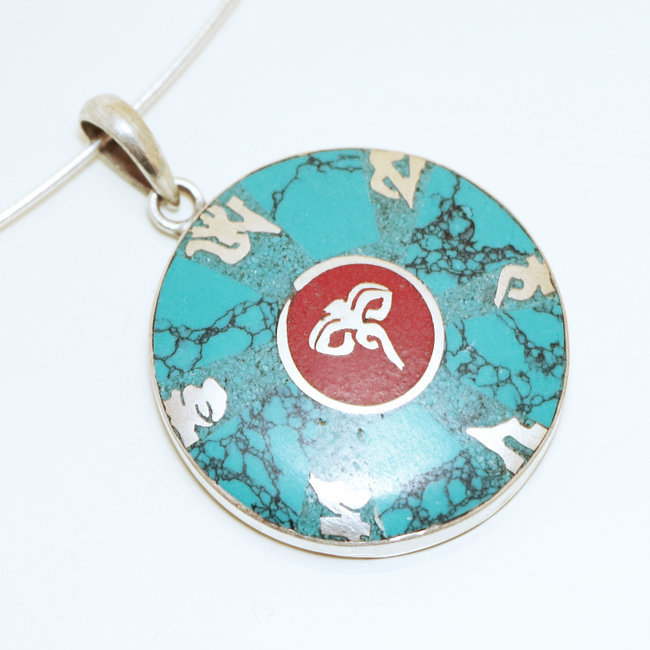 Pendentif Tibétain Rond Turquoise Corail rouge - Nepal 042