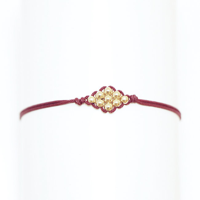 Bracelet lien-cordon perles plaqué or rouge bordeaux - By Johanne 009