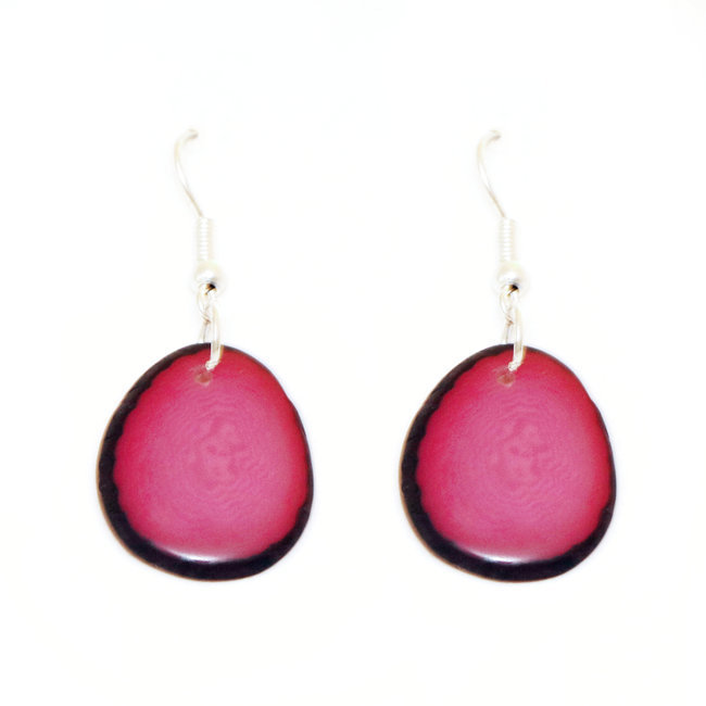 Boucles d'oreilles graine de tagua pétalito rose - Tagua and Co 001