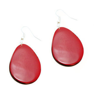 Boucles d'oreilles graine de tagua pétale rouge - Tagua and Co 002