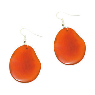 Boucles d'oreilles graine de tagua pétale orange - Tagua and Co 002