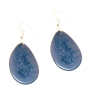 Boucles d'oreilles graine de tagua pétale bleu ardoise - Tagua and Co 002