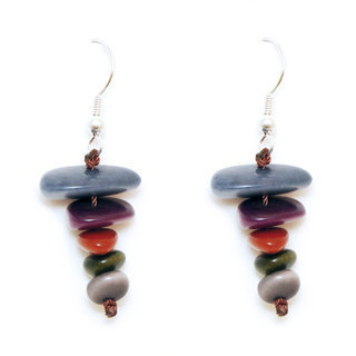 Boucles d'oreilles graines de tagua stupa multicolore otono - Tagua and Co 003