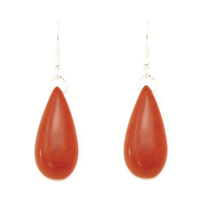 Boucles d'oreilles graine de tagua gouttes brun orangé - Tagua and Co 004