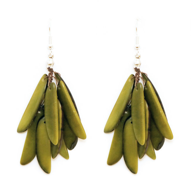 Boucles d'oreilles graines de tagua flamme pistache - Tagua and Co 005