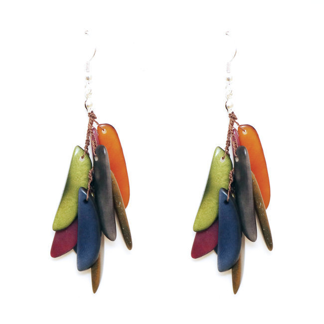 Boucles d'oreilles graines de tagua flamme multicolore otono - Tagua and Co 005