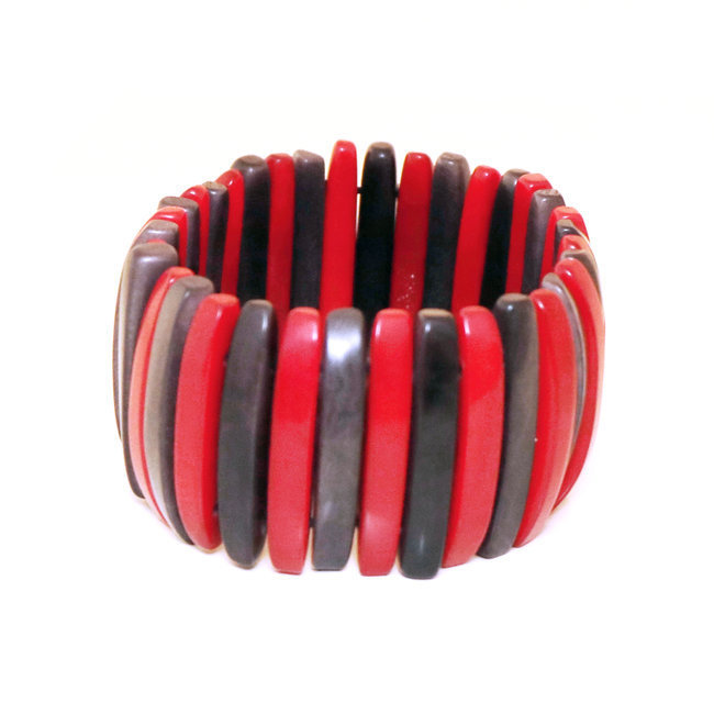 Bracelet manchette laminillas rouge et gris - Tagua and Co 004