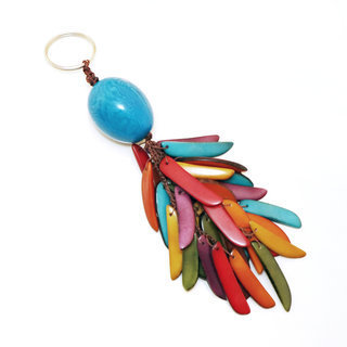 Porte-clés graine de tagua flamme turquoise - Tagua and Co 002
