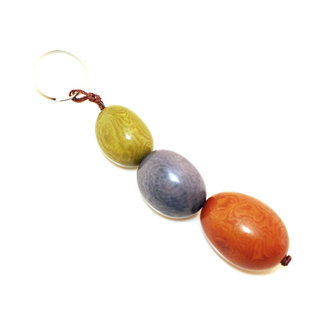 Porte-clés graine de tagua trio Pistache - Tagua and Co 001