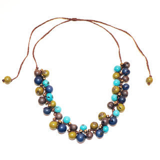 Collier Machala bleu et vert - Tagua and Co 001