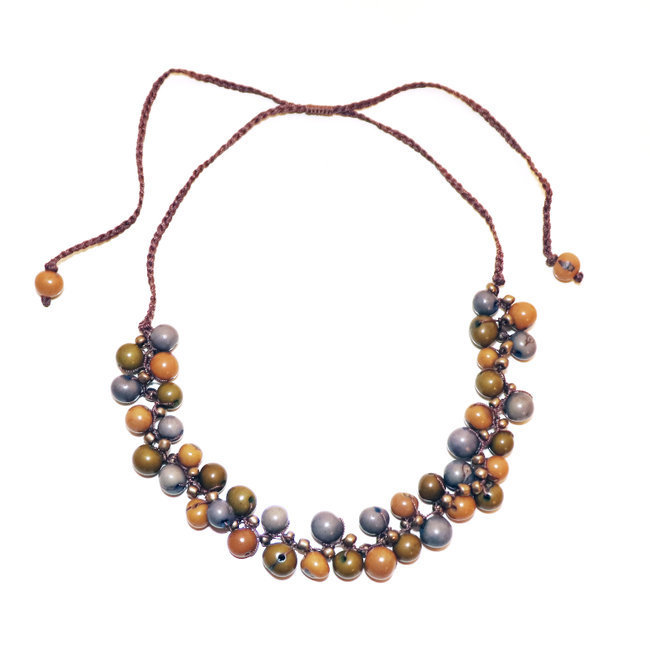 Collier Machala ardoise, bronze et jaune - Tagua and Co 001