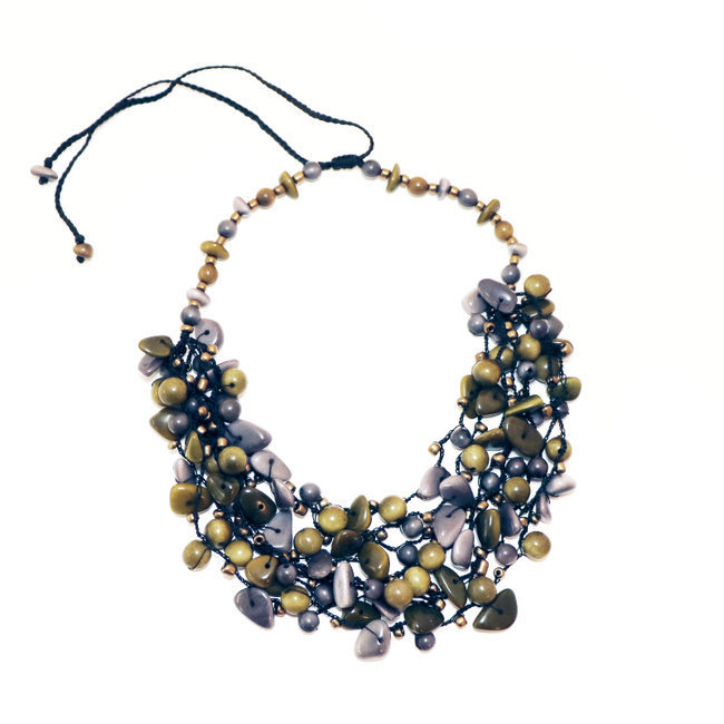 Collier magda bleu ardoise et pistache - Tagua and Co 002