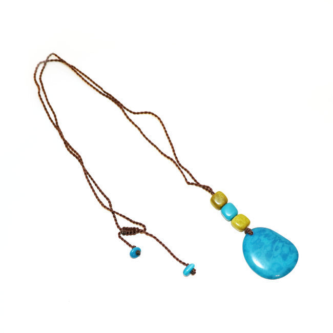 Collier Mindo turquoise et pistache - Tagua and Co 003