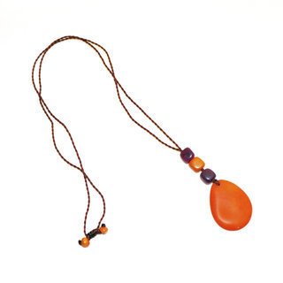 Collier Mindo orange et prune - Tagua and Co 003