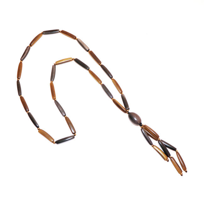 Collier sautoir salinas gris et bronze - Tagua and Co 006