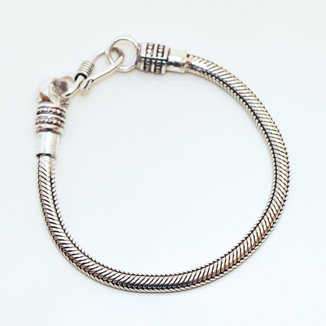 pas mal 35ce8 22c9e Bracelet chaîne snake serpent rond argenté 4 mm - Inde 002