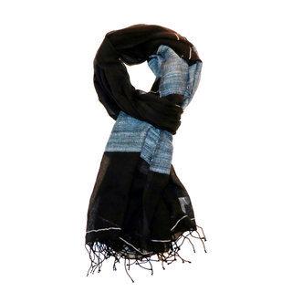 -60% Echarpe foulard chèche en soie et coton bleu Sophia - Dana Esteline 001 dd89b8572fe