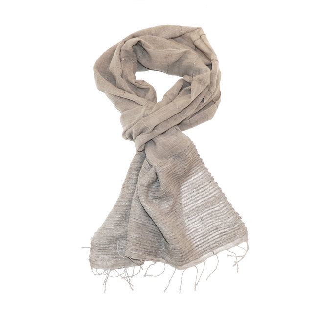 clair et distinctif homme achat le plus récent Echarpe chèche foulard en soie et coton Kokeb gris taupe - Dana Esteline 003