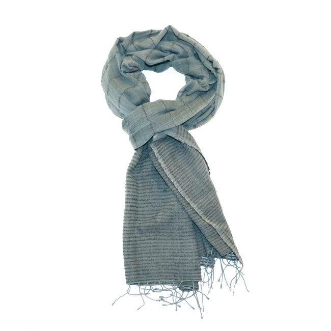 large discount aliexpress closer at Echarpe chèche foulard en soie et coton Kokeb bleu gris - Dana Esteline 003