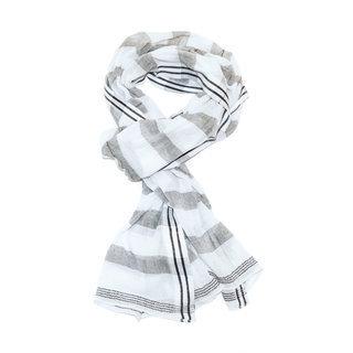 Echarpe chèche foulard en coton rayures Hanna gris blanc - Dana Esteline 004 e687d28dee4