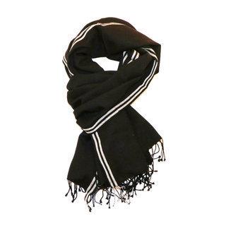 Echarpe étole foulard en laine mérinos noir gris Bachi - Dana Esteline ... a563b435899