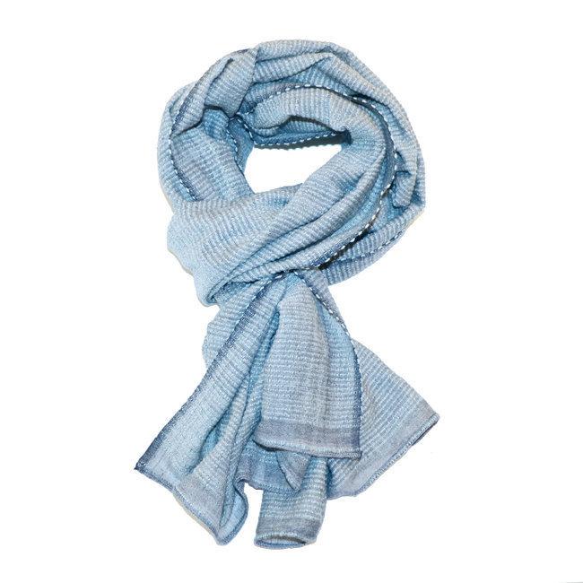 grosses soldes Livraison gratuite dans le monde entier comparer les prix Echarpe chèche foulard en coton Judith bleu denim - Dana Esteline 008
