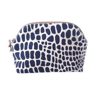 -40% Grande Pochette Trousse à maquillage en toile de coton Ceetah Bleu  Foncé - Ethiopie Dana Esteline 4790bf50121