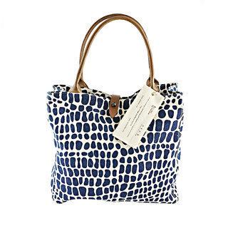 -40% Grand sac à main en toile de coton et Cuir Ceetah Bleu foncé Safari -  Ethiopie 457245836d5