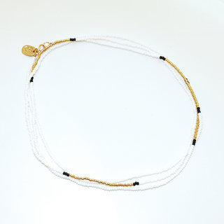 Collier sautoir perles blanc plaqué or Gold-filled 14K - Massaï Sidaï Designs 001