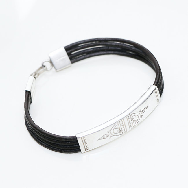 Bracelet touareg rectangle argent 925 cordon cuir brun - Niger 010