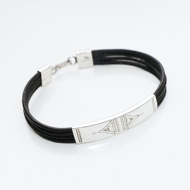 Bracelet touareg rectangle argent 925 cordon cuir brun - Niger 006