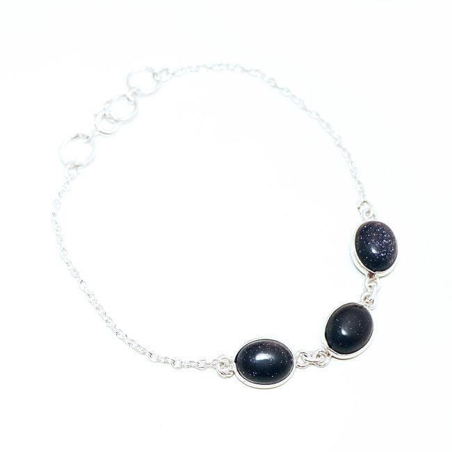 1753f10e67aea Bracelet fin chaîne cabochons ovales argent 925 Pierre de Soleil bleue -  Inde 007