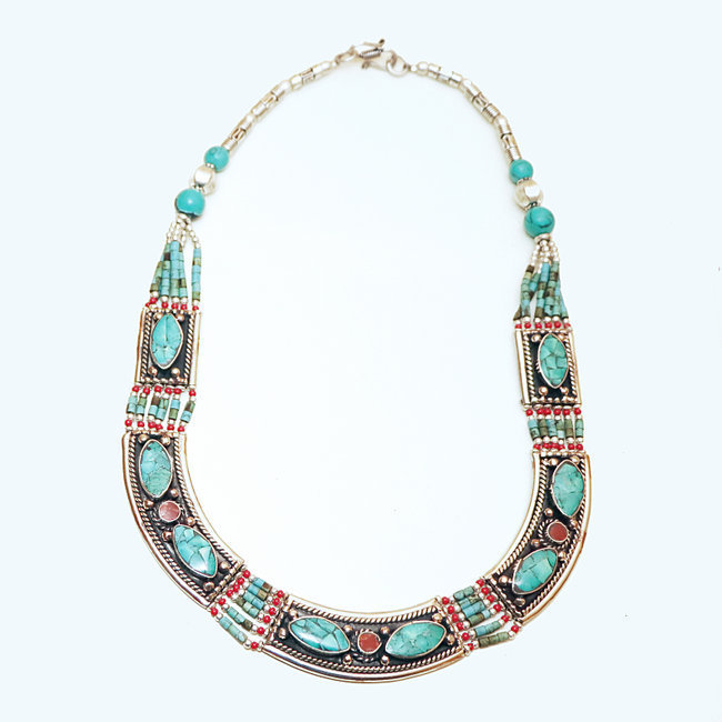 Collier Tibétain pierres Turquoise Corail rouge - Nepal 010