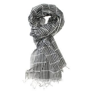 -60% Echarpe chèche foulard en coton noir rayé fin Gamcha - Dana Esteline  015 a72c669f579