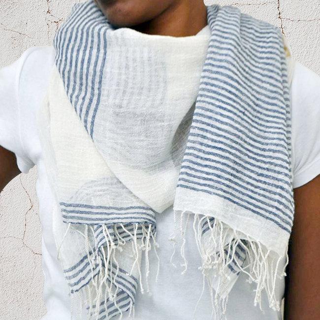 Echarpe chèche foulard en coton Aaron rayé blanc bleu - Dana Esteline 017 f96fdba9617