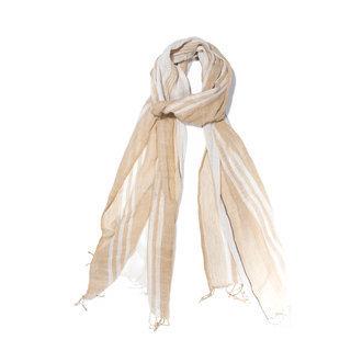 -60% Echarpe chèche foulard en coton fin Zulu beige blanc - Dana Esteline  019 dcde9b5791d