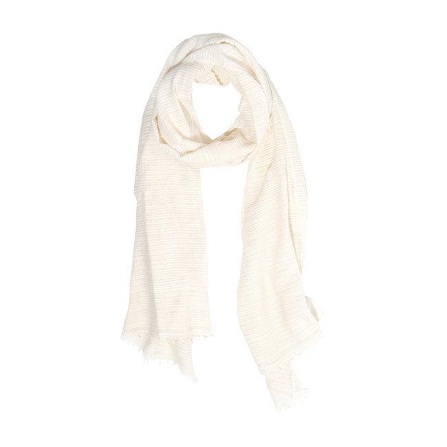 100% high quality fashion style united kingdom Echarpe chèche foulard en coton Judith blanc ivoire - Dana Esteline 020