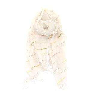 -60% Echarpe chèche foulard en coton Genet blanc ivoire - Dana Esteline 021 680700bc359