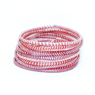 Lot de 12 bracelets Jokko en plastique recyclé mix Rose - Mali 027