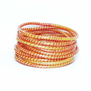 Lot de 12 bracelets Jokko en plastique recyclé Orange - Mali 028