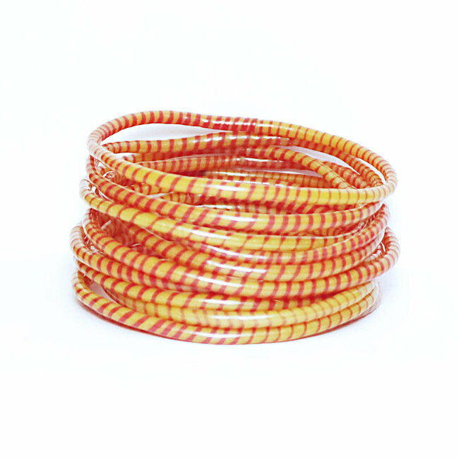 Lot de 12 bracelets Jokko en plastique recyclé Orange tangerine - Mali 028